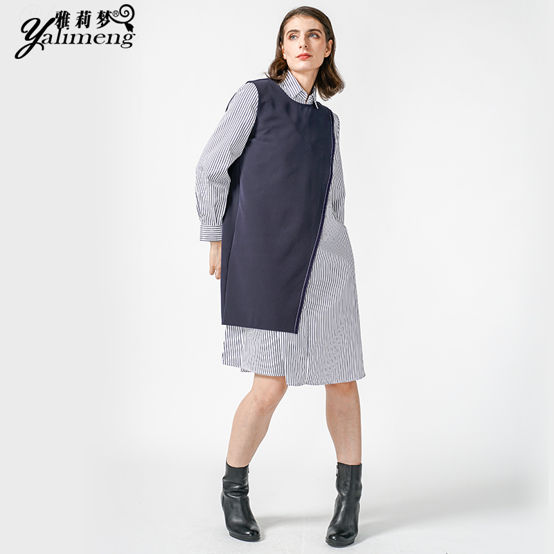 New dress womens retro dress French Platycodon thin Plaid temperament small college Long Sleeve Dress