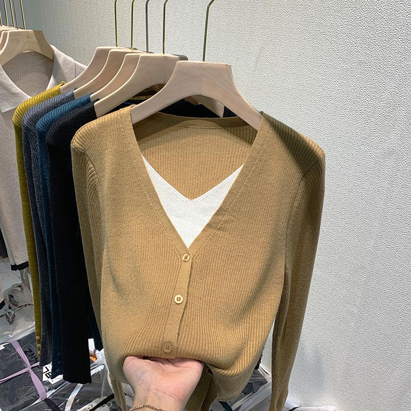 实拍#羊毛衫针织开衫女长袖薄款2021秋装新款假两件上衣毛衣外套