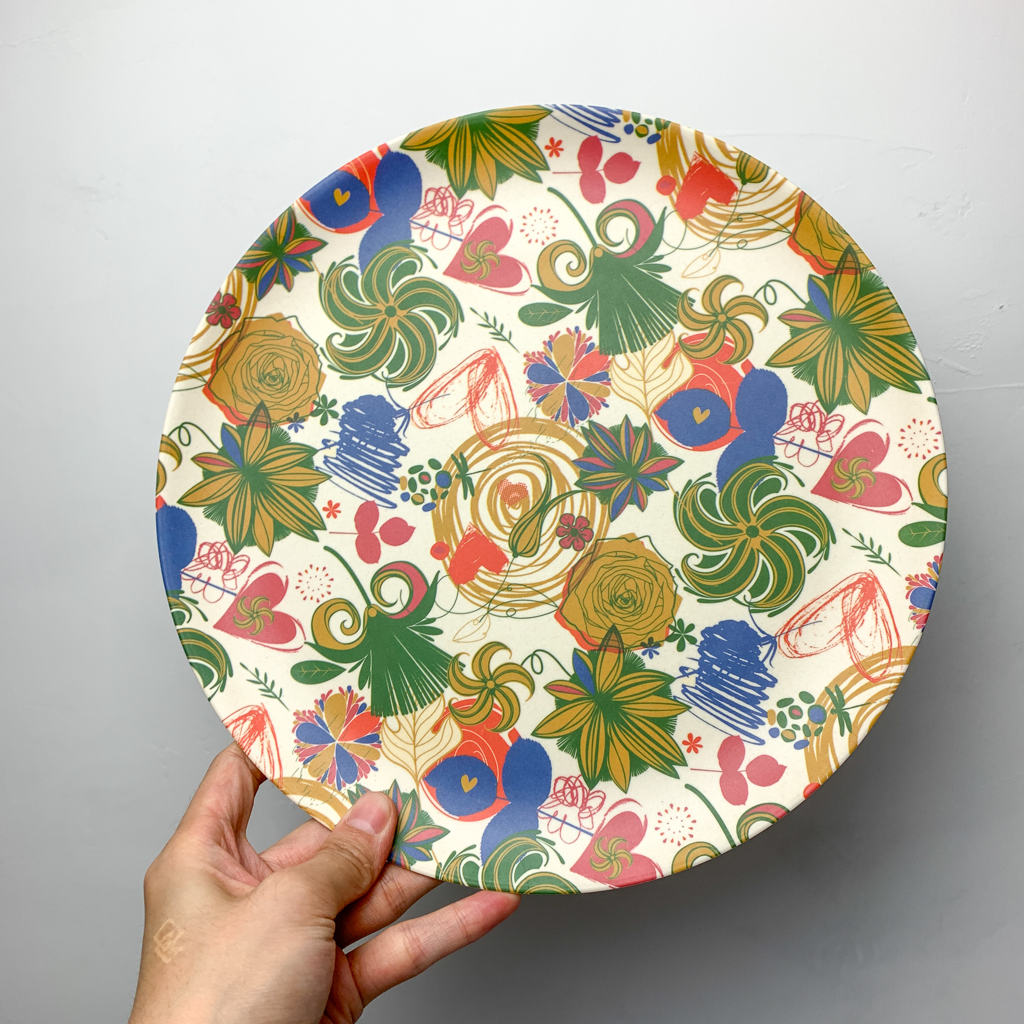 Nordic creative color printing large plate tray round fruit plate bamboo fiber export tableware children fall