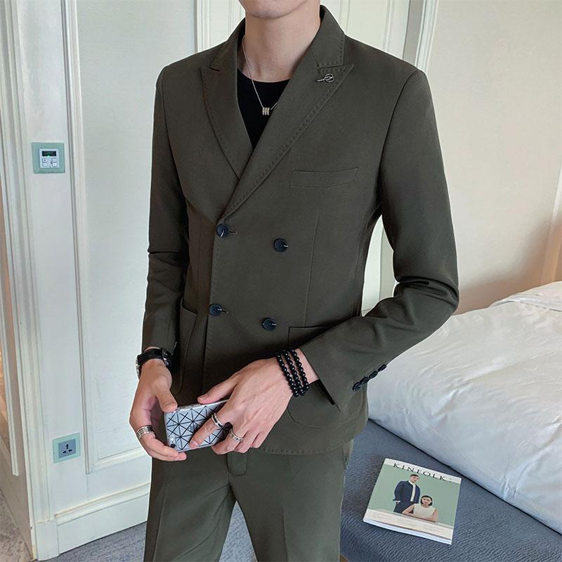 2020秋季新款韩版休闲西装二件套西服外套男士时尚男装TZ206-P225