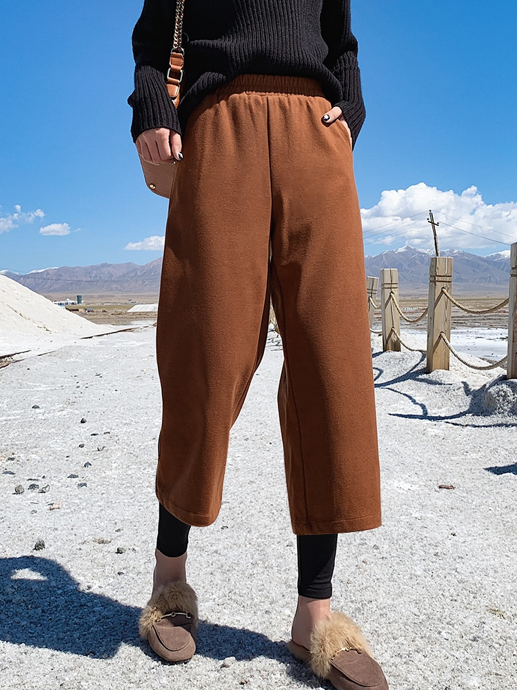 Plush and thickened fake two piece wide leg pants womens autumn and winter new high waist down tweed pants straight tube nine point casual pants