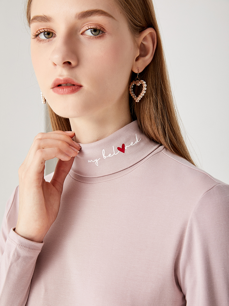2021 spring new simple single wear with spice semi high collar long sleeve T-shirt backing