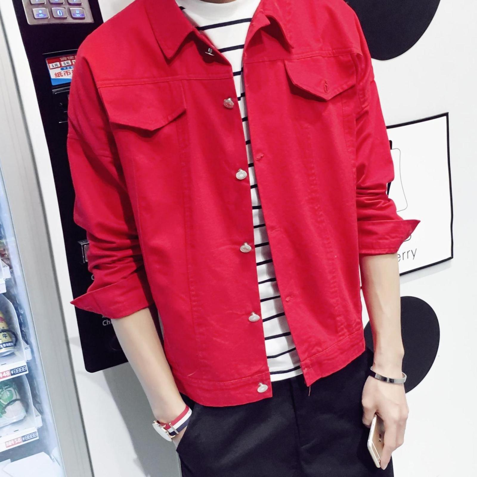 黄家驹同款牛仔夹克工装红色外套修身复古演唱会纪念品衣服休闲男