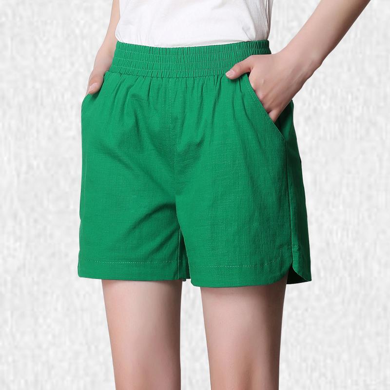 女亚麻高腰宽松显瘦沙滩裤棉麻短裤(非品牌)