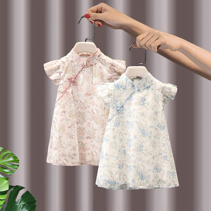 女童连衣裙夏季中国风2021年新款儿童夏装网红旗袍洋气短袖公主裙