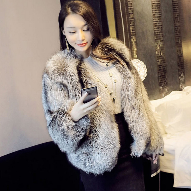 Celebrity small fragrance artificial fur one coat fashion 2019 winter fox fur fur coat womens short