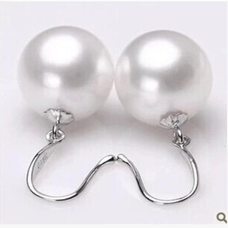白色正圆强光包邮银s925天然深海南洋母贝珠珍珠耳环