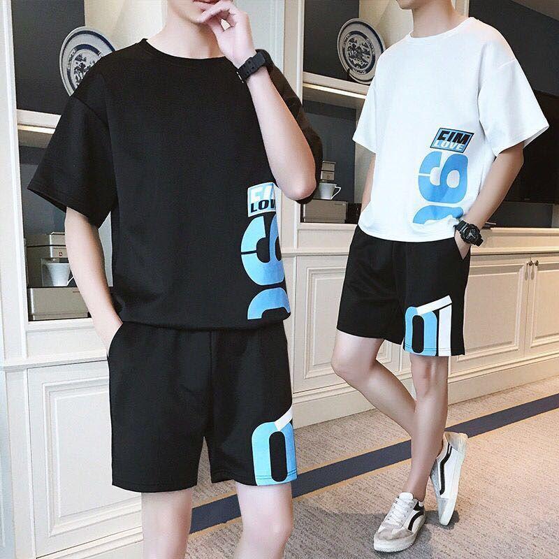 男士休闲套装夏季短袖青少年t恤