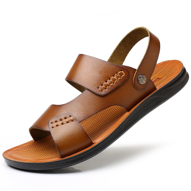 Sandals Men's Tide 2019 New Summer Beach Soft-soled Leisure Outdoor Wear Non-skid Leather Sandals Summer Men's Slippers