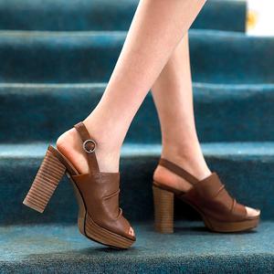棕色高跟凉鞋女2021年新款高跟鞋
