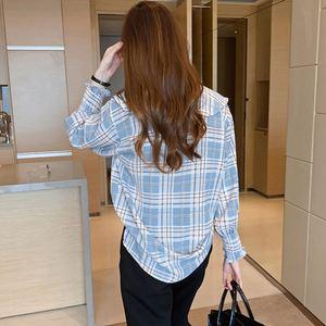 格子女春装2021年新款大码宽松衬衫