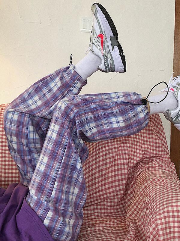 CCKOK自制 裤子女夏2020夏季复古薄款休闲宽松格子短裤长裤束脚裤