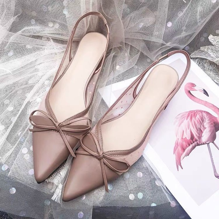 Sandal lady summer fairies gentle thick heel pointed womens shoes spring 2020 new mesh breathable wave point single shoe woman