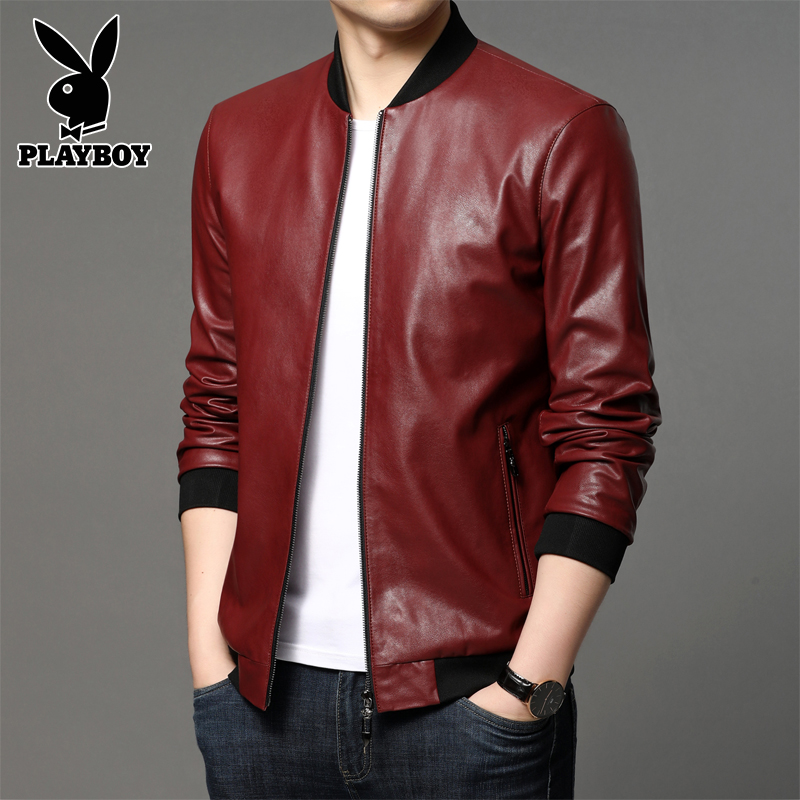 Panasonic genk male handsome machine car leather men's Slim Korean version of the pilot Spring and Autumn Men PU leather