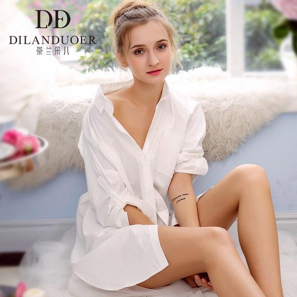 蒂兰朵儿 纯棉 宽松性感白色长衬衫睡裙 睡衣 天猫优惠券折后¥69包邮(¥109-40)2款可选