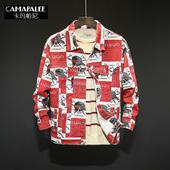 男士 春秋 修身 潮牌欧美街头韩版 印花牛仔外套男潮个性 帅气夹克工装
