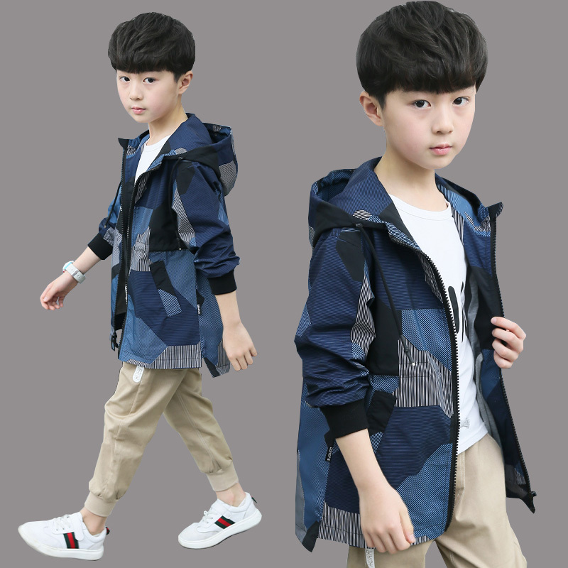 Childrens boys jacket autumn 2019 new thickened windbreaker foreign style middle-aged childrens autumn and winter handsome jacket trend