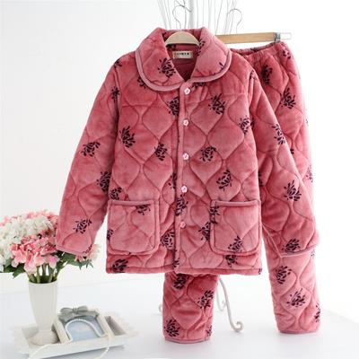冬季中老年人睡衣女士纯棉夹棉妈妈款冬天加厚老人大码保暖套装