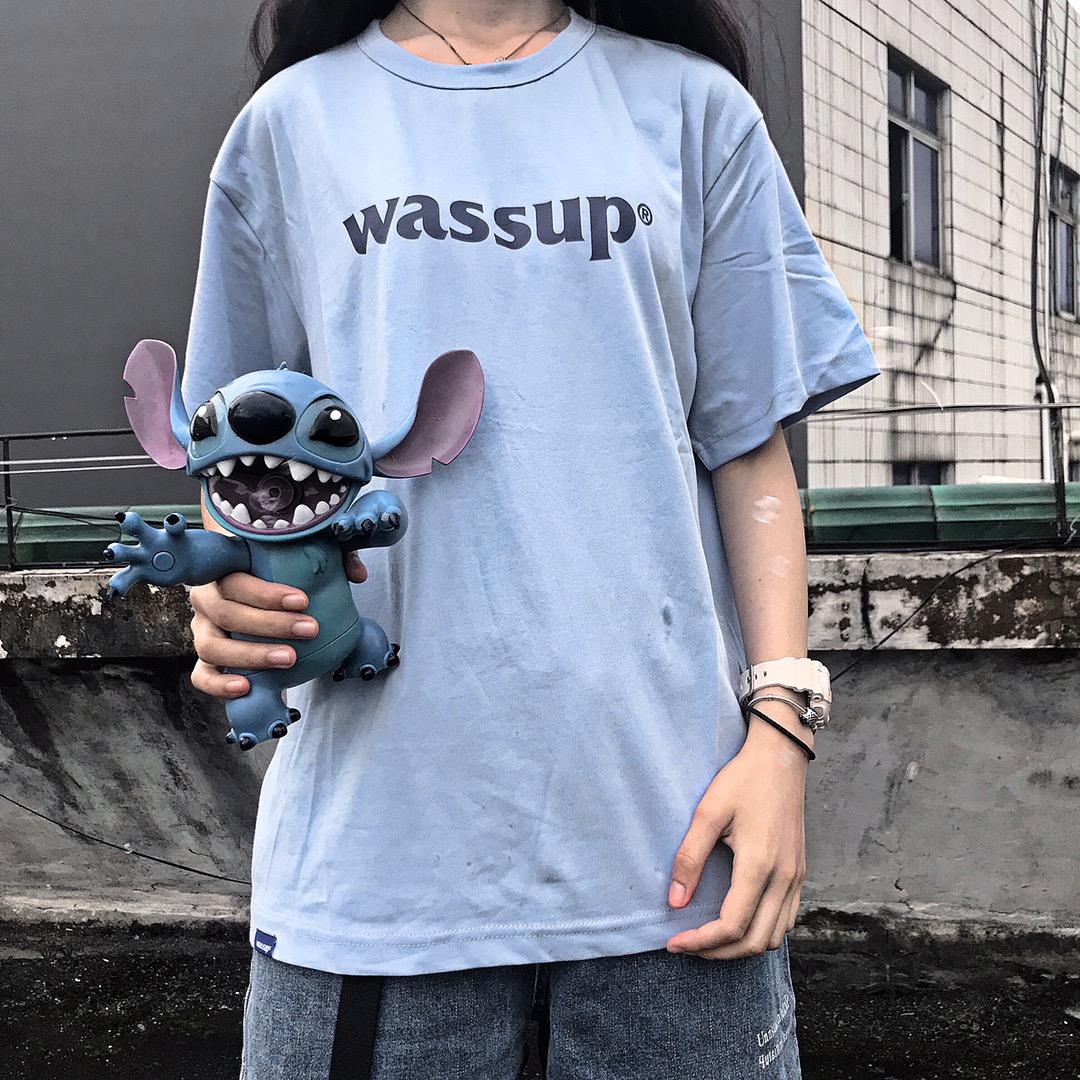 WASSUP18SS基础5色logoT男圆领印花纯色半袖纯棉打底衫短袖情侣女