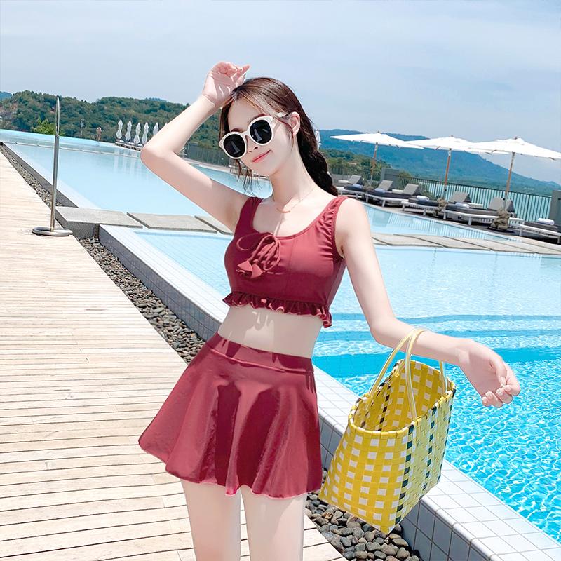 限100000张券女韩国ins风分体裙式遮肚新游泳衣