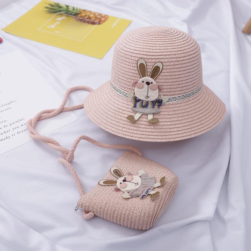 儿童遮阳帽子夏天凉帽女童草帽小孩公主沙滩太阳帽宝宝防晒渔夫帽