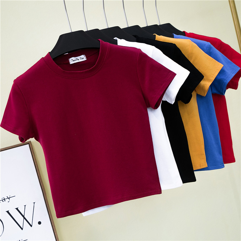 Half high collar short sleeve navel revealing T-shirt womens summer wear tight leakage navel bottom Shirt Short high waist solid color sports top