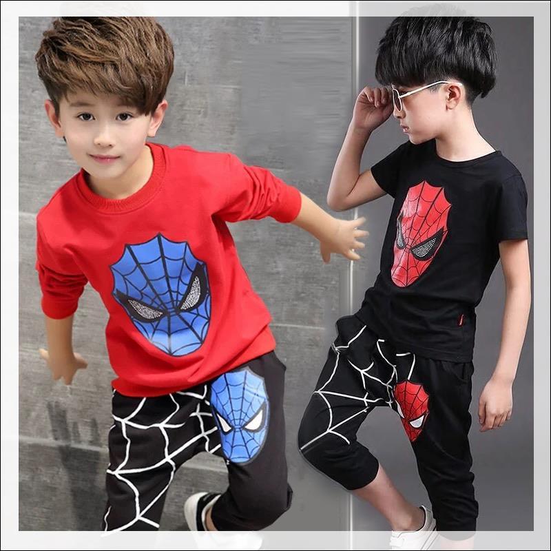 男童蜘蛛侠春秋夏套装韩版小孩奥特曼卡通衣服儿童纯棉短袖两件套