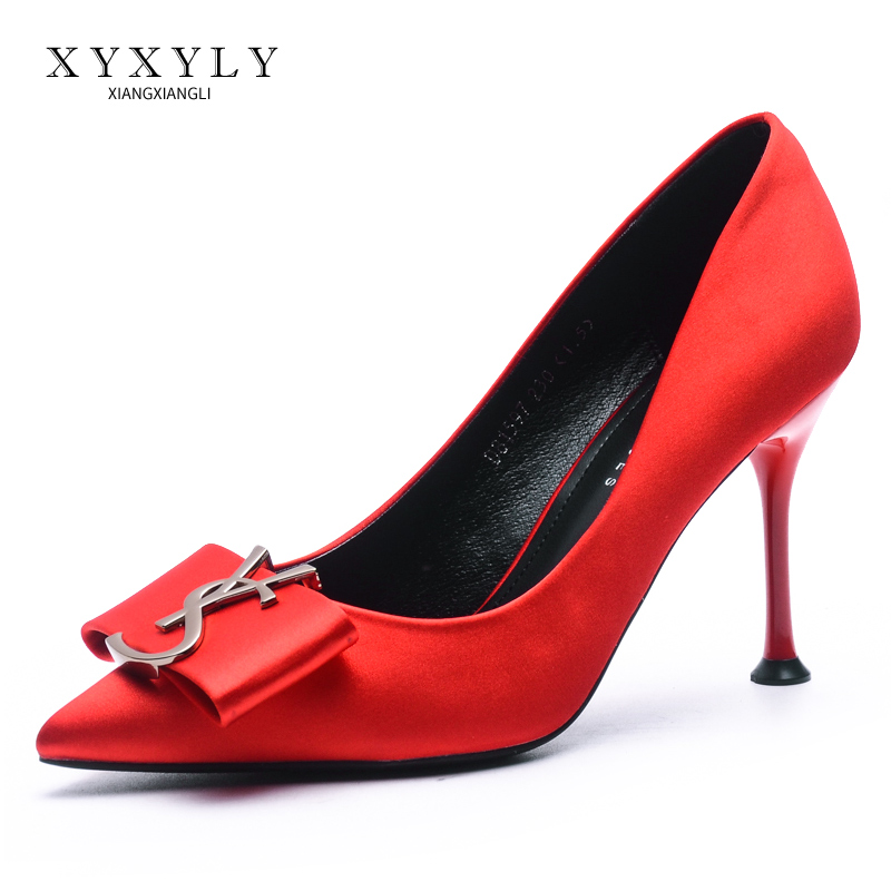 Fragrant red toast wedding dress bow high heel shoes slim heel 20 new wedding shoes womens shallow mouth show bridal shoes