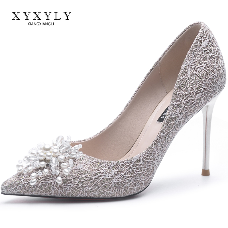 Xiangxiang Li wedding shoes women 2020 new high heel pointed single shoes lace Bridesmaid shoes with pink thin heels