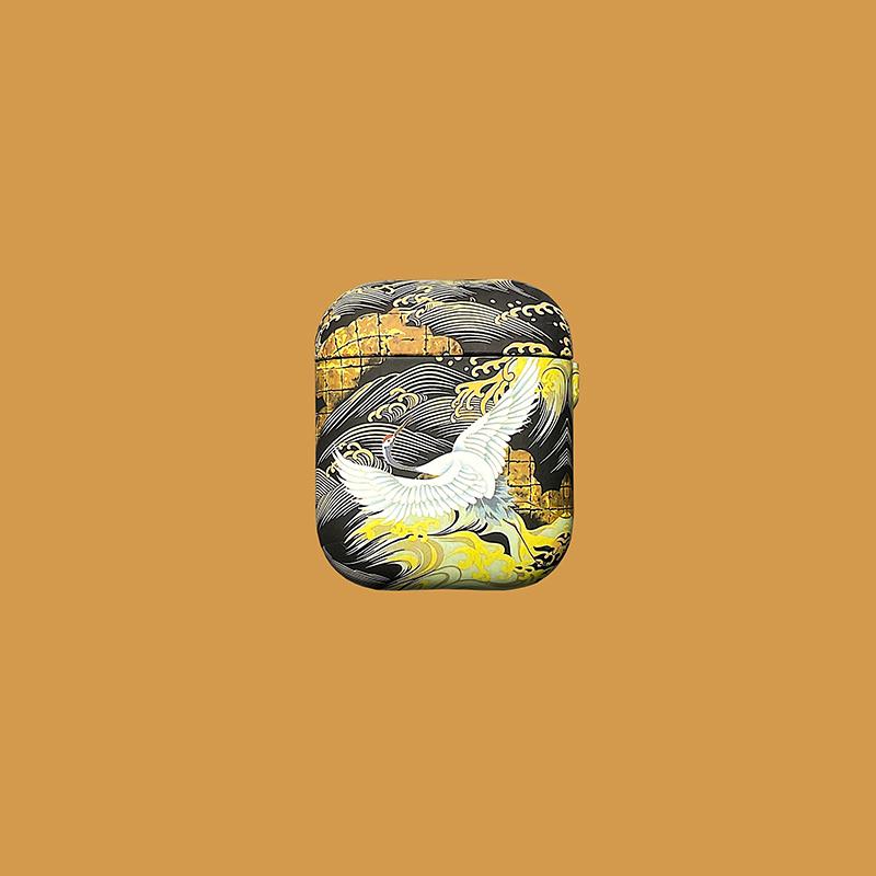 中国风仙鹤适用airpods1/2代耳机套苹果蓝牙耳机pro3软壳硅胶防摔