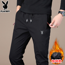 Playboy casual pants mens Korean version of the trend of autumn and winter with thick fleece sports slim feet pants men pants