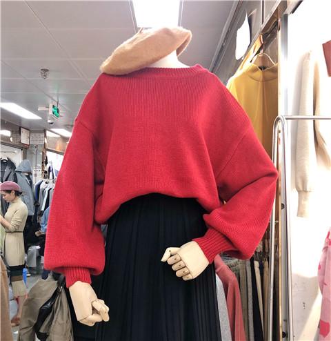 新品2018新款后背丝绒绑带镂空宽松针织衫毛衣ins超火