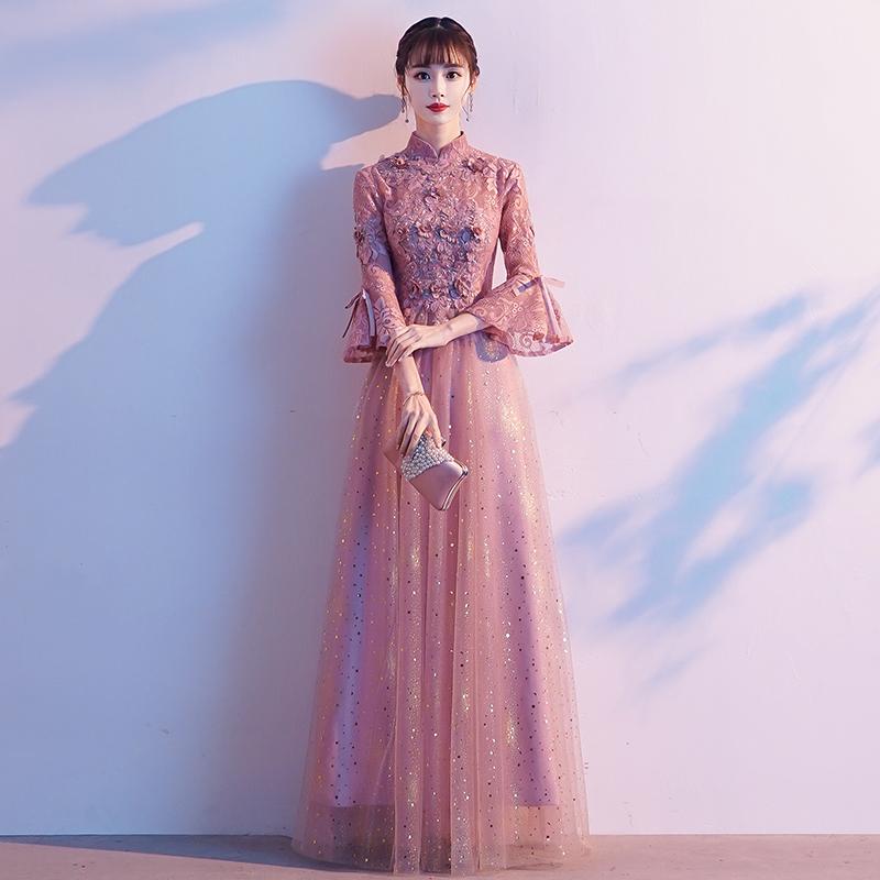 年会主持人晚礼服裙女2019新款高级质感伴娘粉色仙气宴会气质梦幻