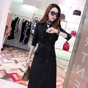 2020春秋新款韩版风衣女装长袖双排扣中长款外套黑色收腰修身显瘦