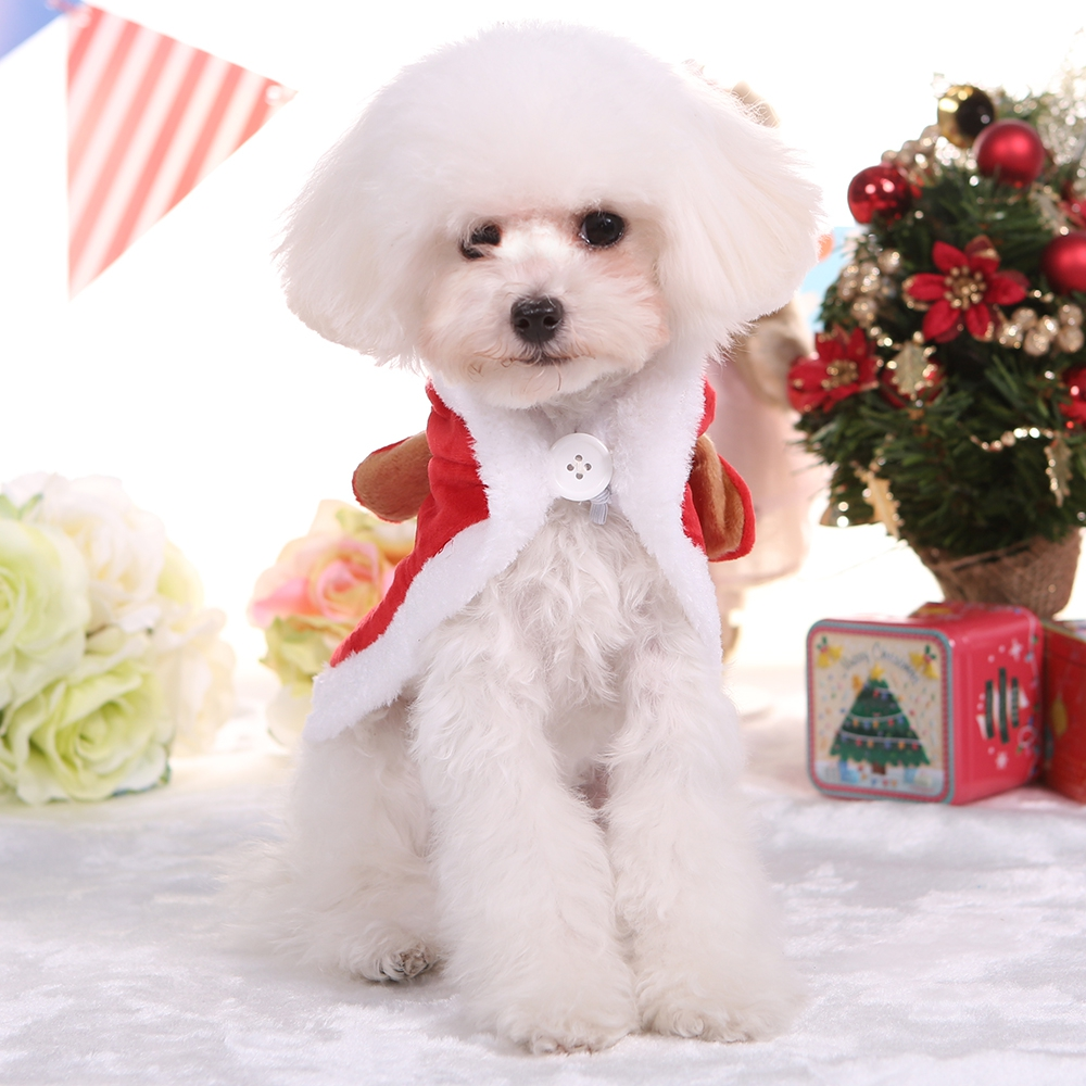 Package mail autumn and winter clothes Christmas elk cloak cloak Teddy small and medium dog pet clothes