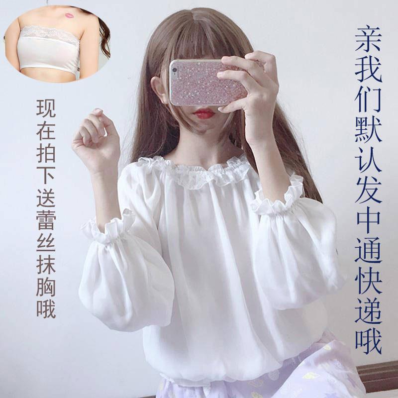 雪纺上衣女学生2019春夏新款女装韩版显瘦衬衫超仙内搭打底蕾丝衫