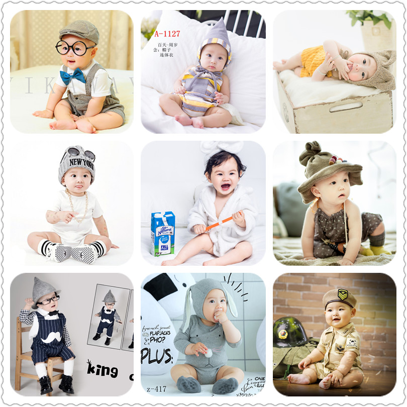 2019新款儿童摄影服装韩版影楼拍照服饰百天1岁男宝照相韩式童装