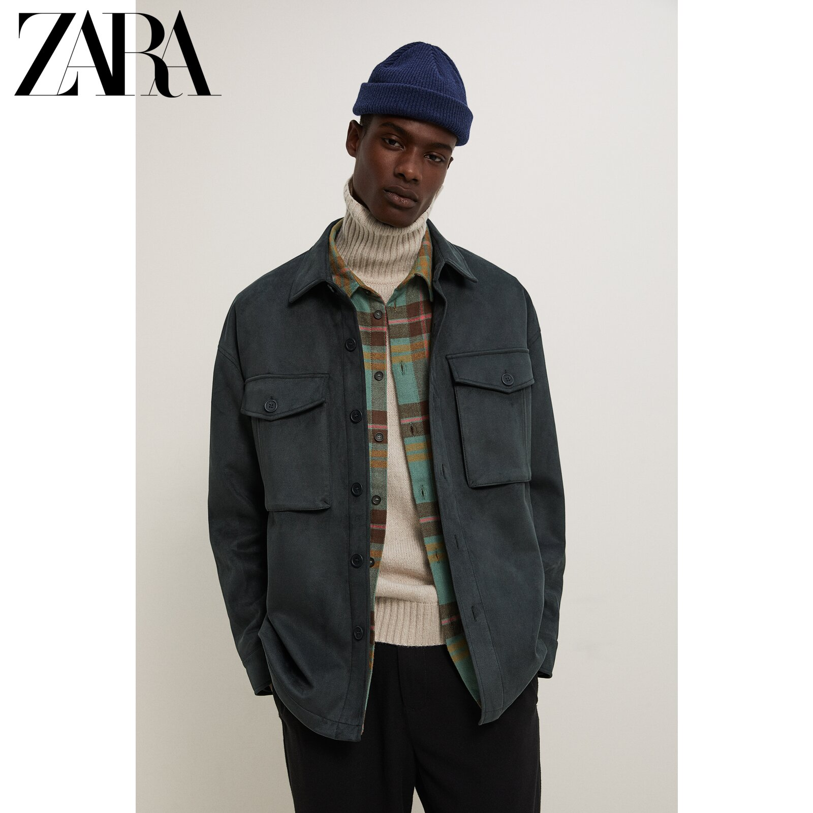 ZARA new men's autumn and winter imitation suede suede shirt jacket jacket 06318307552