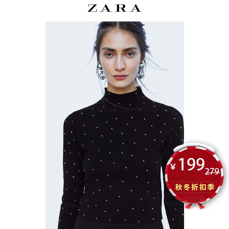 【打折】ZARA 新款 女装 钉珠装饰高领针织衫 09598132800