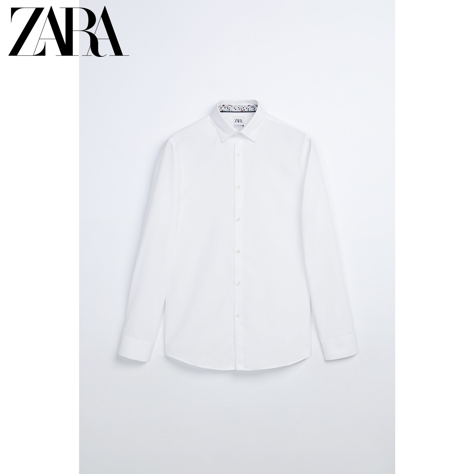ZARA new men's clothing easy ironing texture long-sleeved white shirt 07545405250