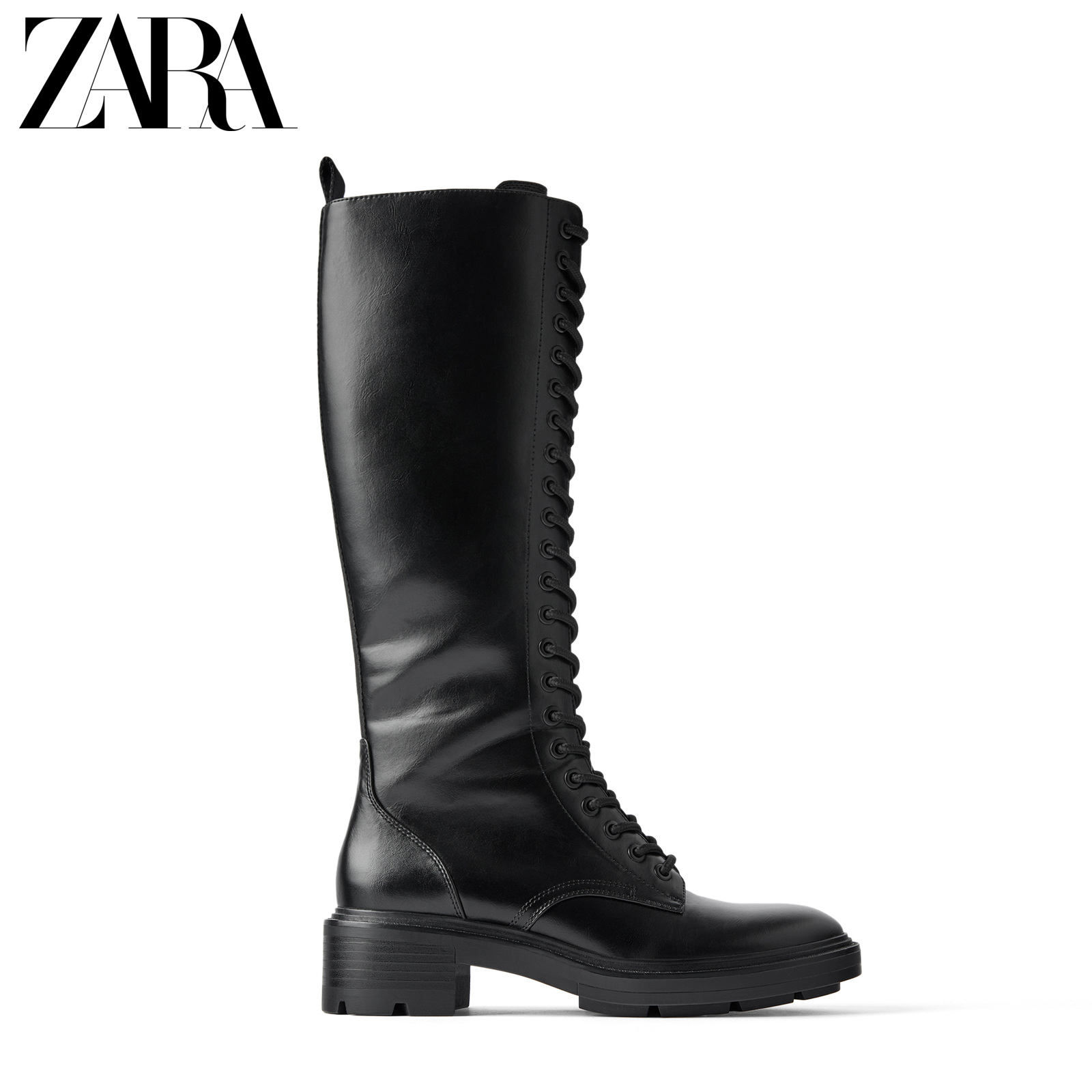 Zara new women's shoes black lace up flat riding boots Martin boots 16054001040