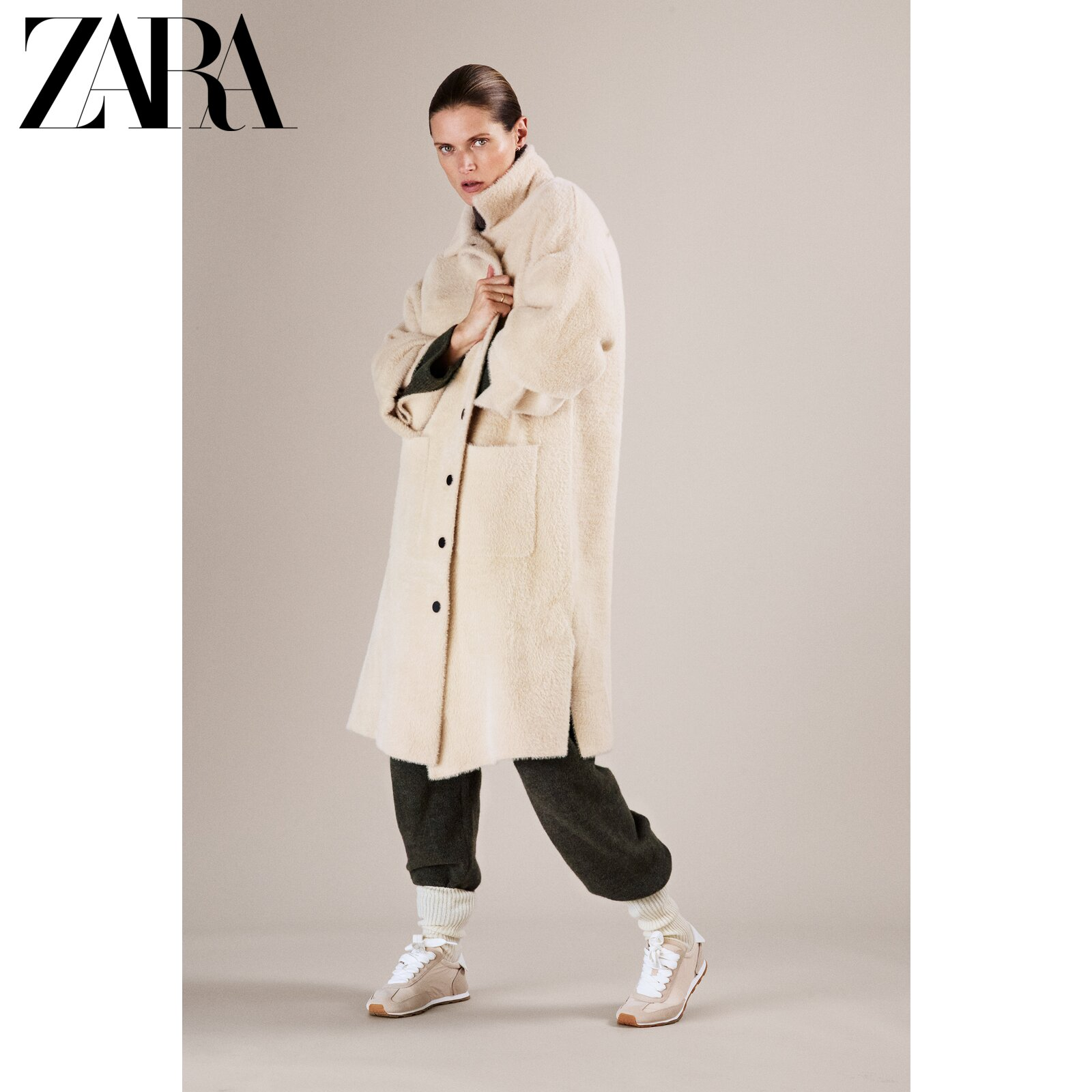 Zara new faux fur effect loose coat 01736101712