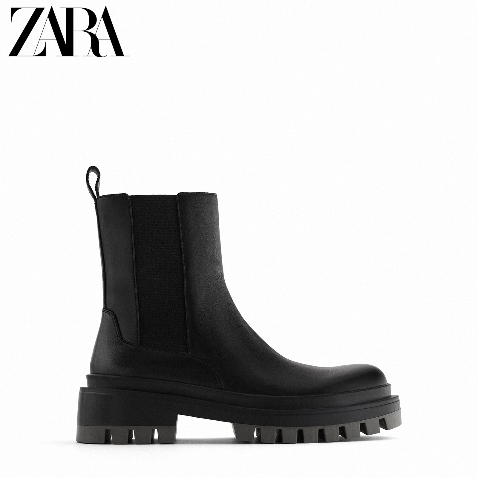 Zara new women's shoes black wavy thick-soled increased bottom cow leather chimney ankle boots 11107612040