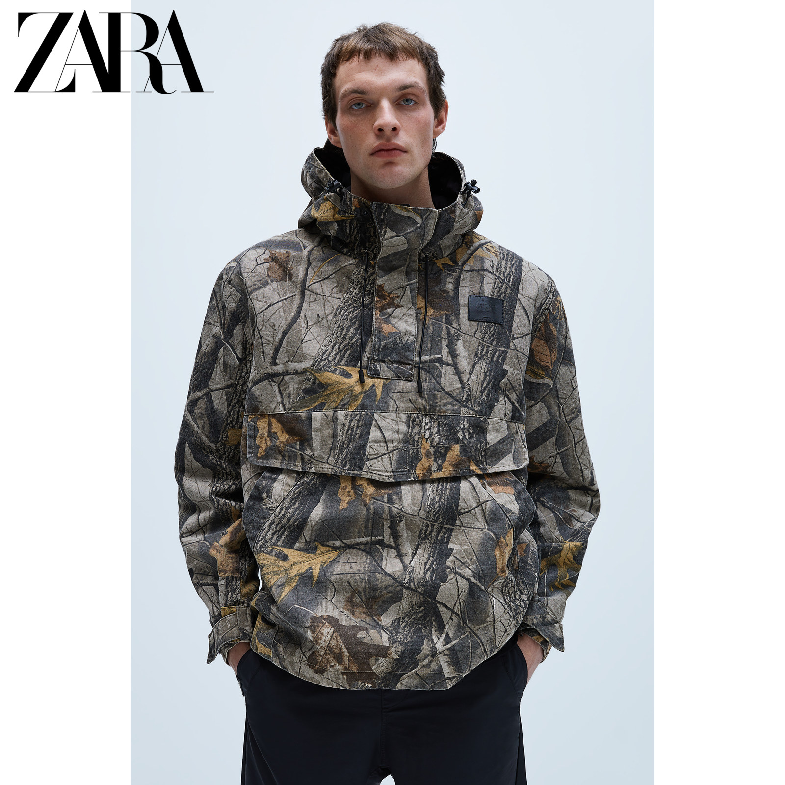 Zara new men's camouflage kangaroo pocket Half Zip Jacket Coat 01792412505