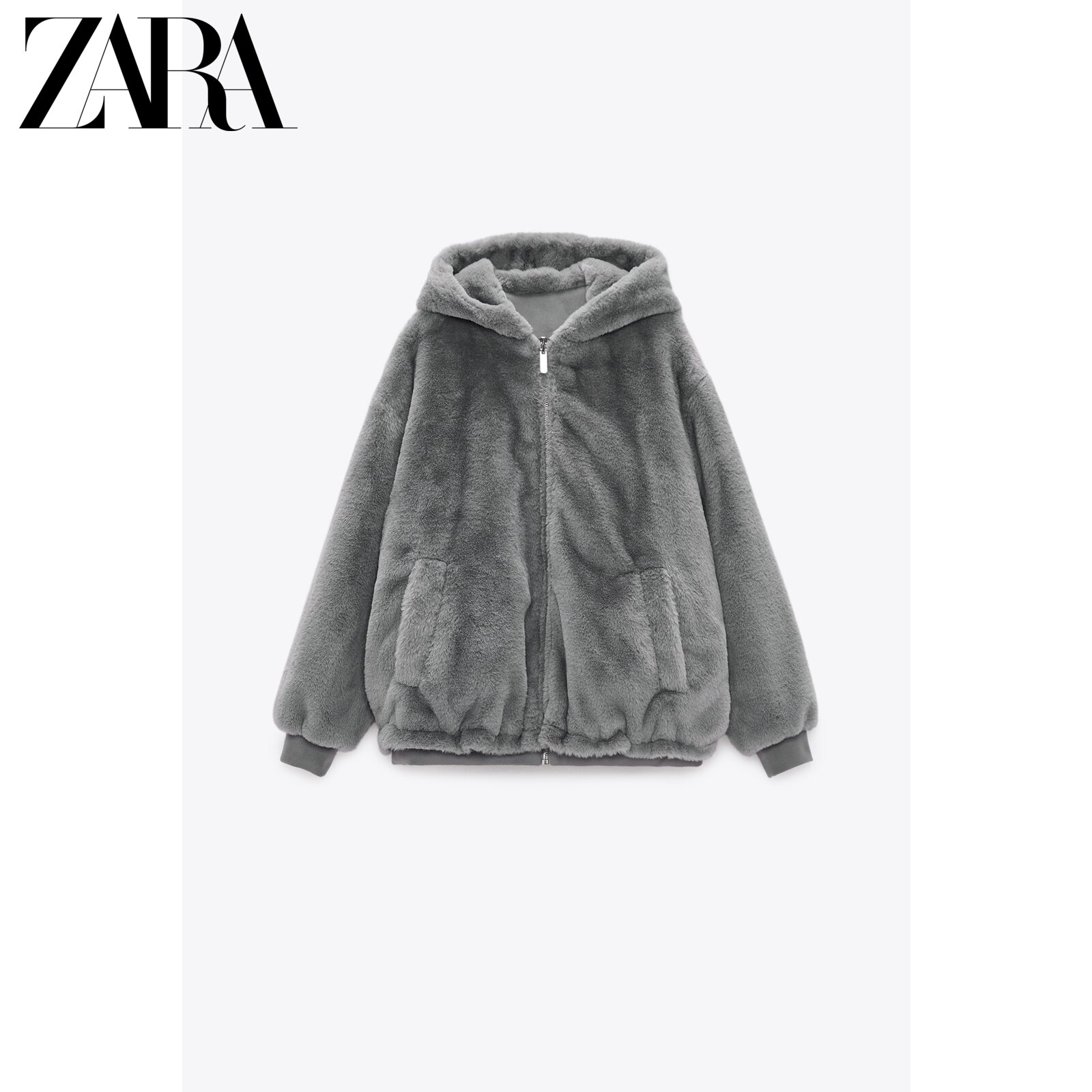 ZARA new women's clothing faux fur effect double-sided jacket 03046887802