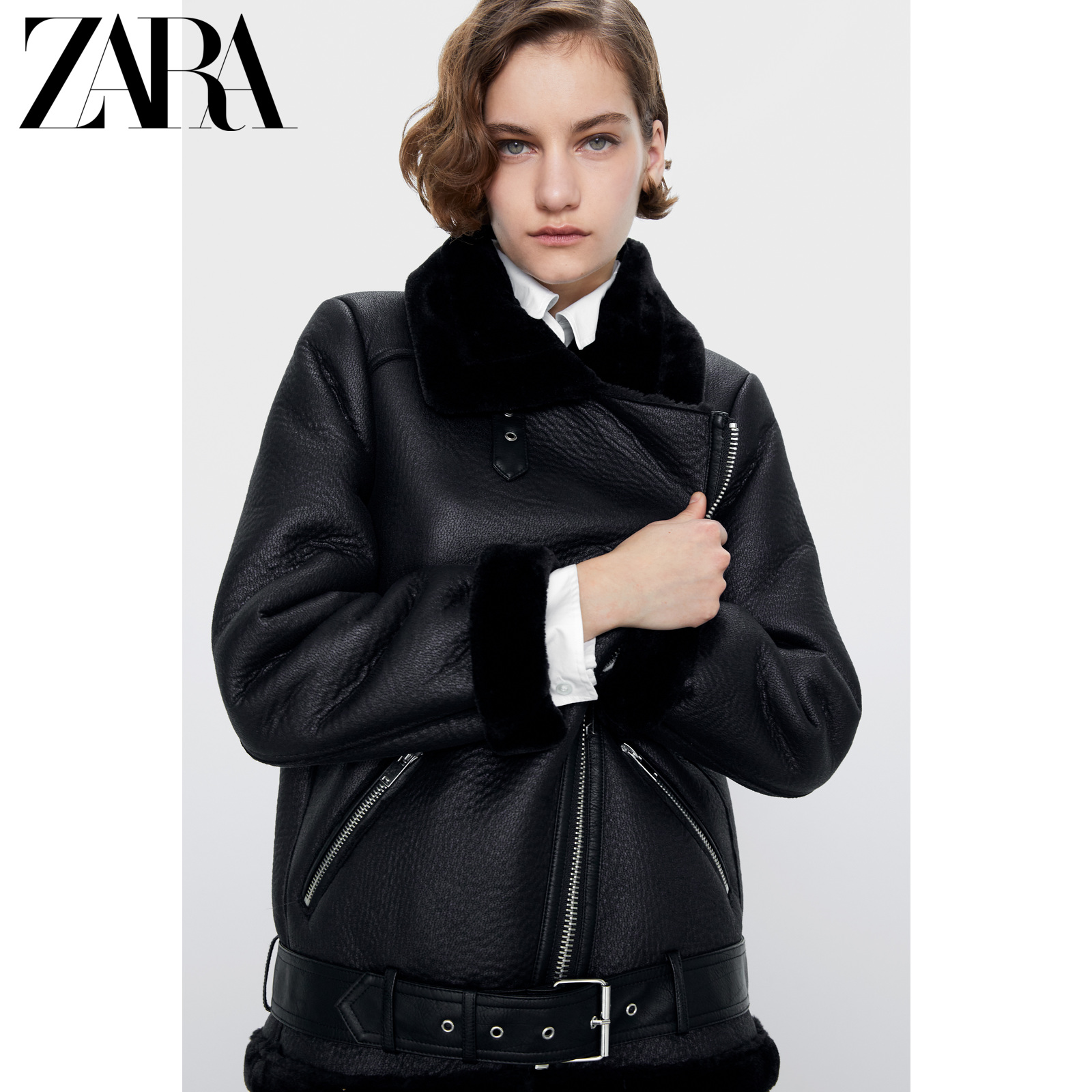 Zara new women's double sided motorcycle jacket 02969253800