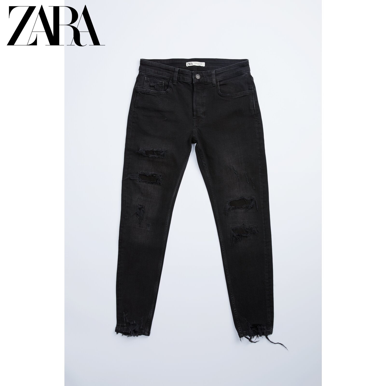 Zara new men's black jeans with ripped skinny feet 06045330800