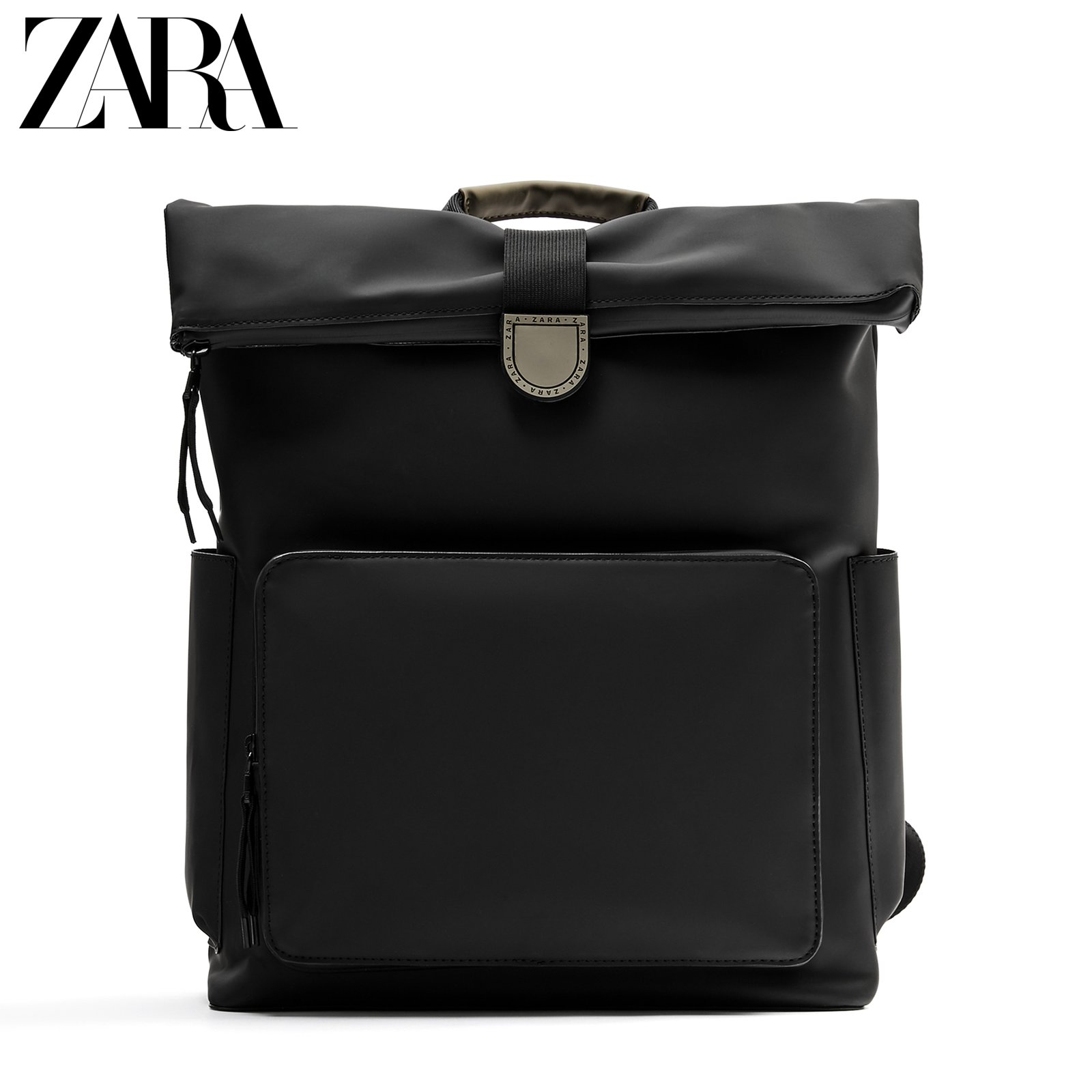 Zara new men's bag black laminated large-capacity portable and practical backpack 13215620040