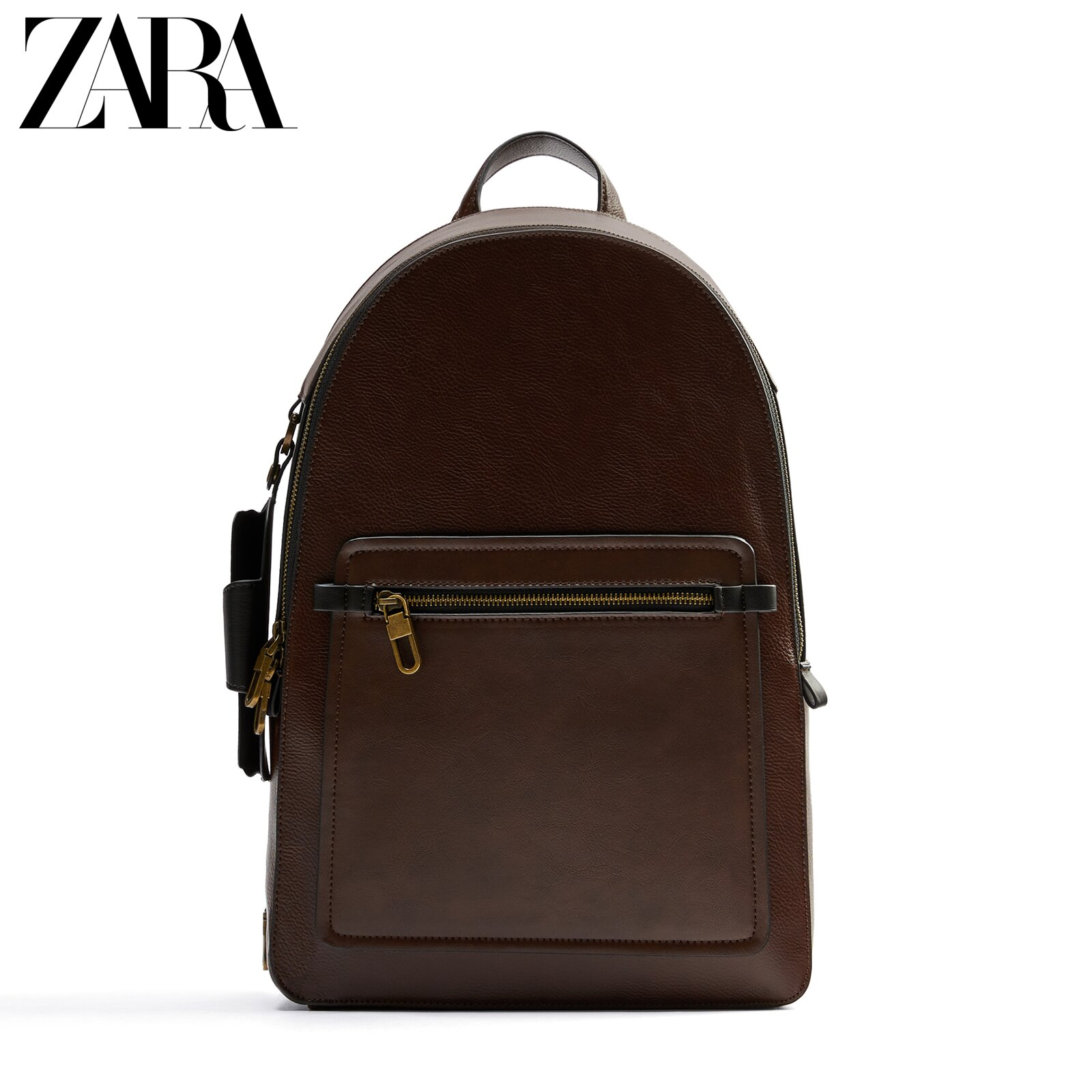 Zara new men's bag brown classic large-capacity backpack with mirror sleeve 13203620105