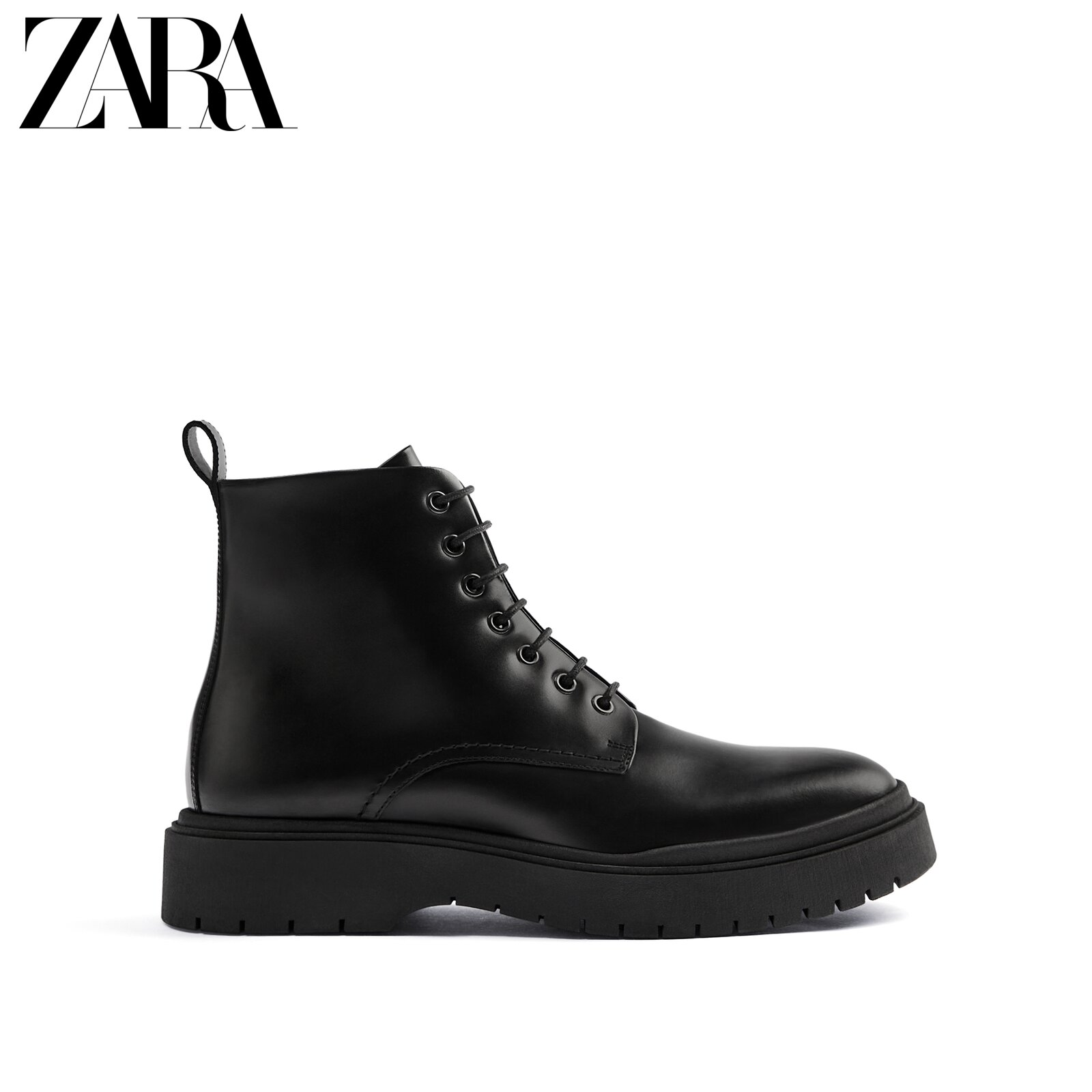 ZARA new men's shoes black thick-soled cow leather retro wild classic Martin boots leather boots 12017620040